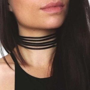 Forever 21 Faux Suede Black Choker Necklaces